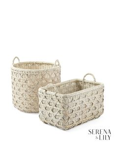 Serena & Lily Sag Harbor Basket Two sizes, two shapes. Bamboo caning and a whitewashed finish prove Cane Baskets, Bamboo Canes, Studio Mcgee, Sag Harbor, Big Girl Rooms, Cottage Design, Coastal Style, Christmas Traditions, Christmas Home