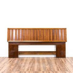 Mid Century Modern Wood Slat King Sized Headboard | Loveseat Vintage Furniture San Diego & Los Angeles