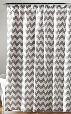 Lush Decor Chevron Shower Curtain 72 x 72 GrayWhite -- To view further for this item, visit the image link.