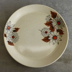 2 Vintage Johnson of Australia Russet Dinner Plates Retro Flowers