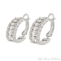 Dozens of AAA cubic zirconia on these half-hoop earrings from Fifth Avenue Collection.