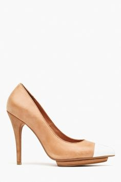 Bullet Platform Pump in Tan Leather by Jeffrey Campbell