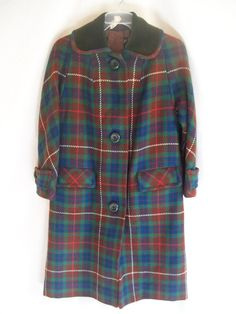 Vintage Plaid Wool Coat with Velvet Collar by jclairep on Etsy, $69.00