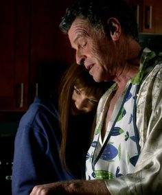 Anna Torv and John Noble I don't remember the episode, but I believe Alt Liv was back on our side and she and Walter kind of bonded (over coffee or breakfast food or something), overcoming Walter's original disgust that she was there.