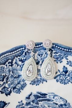 Quite possibly the most stunning teardrop wedding day earrings.