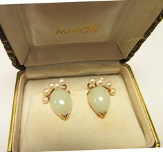 Vintage Estate Ming's of Honolulu 14K Light Green Jade and Pearl Earrings by Alohamemorabilia on Etsy