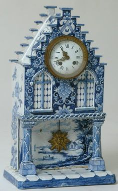 "I love Blue Delft. I collect anything that is ""Blue Delft"" Blue And White China, Blue China, Love Blue, Delft, Unique Clocks, Old Clocks, Cuckoo Clocks, Grandfather Clock, Schmuck Design"
