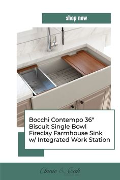 Annie and Oak is the kitchen sinks and decor expert resource. Shop for Bocchi Reversible Biscuit 36 Inch Fireclay Farmhouse Sink w/ Colander and Cutting Board now. Fireclay farm sink becomes the most durable material used in today's kitchens. 100% non-porous surface provides unmatched stain resistance compared to matte stone or other composite materials. Shop for the best kitchen sinks and decor at www.annieandoak.com. Fireclay Farmhouse Sink, Fireclay Sink, Farmhouse Sinks, Victorian Kitchen, Victorian Farmhouse, Modern Farmhouse, Best Kitchen Sinks, Biscuit Color