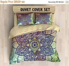 After Christmas SALE Bohemian bedding, Bohemian queen / king / full / twin duvet cover, colorful lotus mandala duvet cover set, Boho duvet c