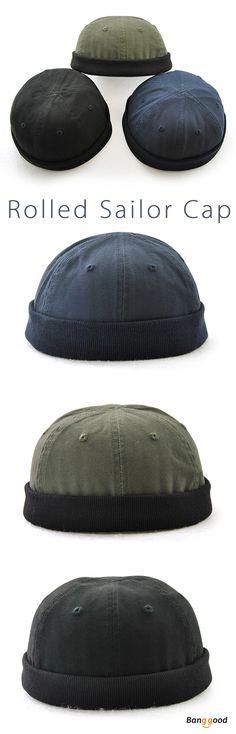 d3c38c5b2f6c92 Men Plus Size Hats Retro Solid Brimless Hat Adjustable Warm Skullcap Sailor  Cap