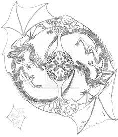 Mandala Line Drawing by SabrielDragonkin.deviantart.com