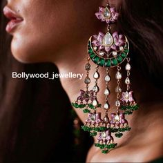Repost from fell in love with this one at the Not to be missed in your jewellery trousseau (bridal outfit)… charming chandelier by Sunita Shekhawat studded with and pink lotus Jewelry Trends, Jewelry Accessories, Jewelry Design, Designer Jewellery, Designer Earrings, Jewelry Gifts, Jewelery, Indian Jewelry Sets, Indian Earrings