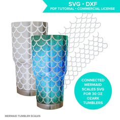Mermaid scales SVG cutting file for Ozark steel tumbler / mermaid scale tumbler / mermaid pattern SVG / fish scale pattern / circuit / cameo  These connected mermaid scale SVG cutting files are sized and shaped to smoothly wrap around a 30 oz Ozark tumbler and meet at the seams!