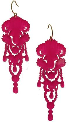 would be cool laser cut in felt too Hot Pink Earrings from The Opulent Project.