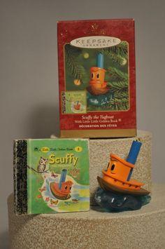 Hallmark  - Scruffy the Tugboat with Little Golden Book - Classic Ornament #Hallmark