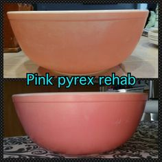 Pyrex pink. Bar keepers friend and coconut oil.