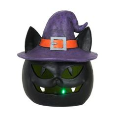 Halloween LED Screamer Cat Statue