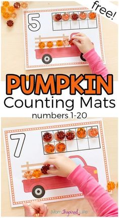 Fall Pumpkin Counting Mats These pumpkin counting mats are a great way to teach preschool and kindergarten students number sense and counting. A fun fall math activity! Fall Preschool Activities, Preschool Lessons, Teach Preschool, Preschool Kindergarten, Number Activities, Montessori Elementary, Number Sense Kindergarten, Montessori Preschool, Counting Activities