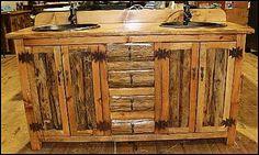 """Rustic Bathroom Vanity - Double Sink 62"""" -  Bathroom Vanity  - Log Cabin  - Copper sinks"""