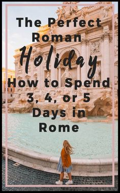 The Perfect Roman Holiday: Itinerary and Guide for 3, 4, or 5 Days. In 'Roman Holiday' Audrey Hepburn perches on the Spanish steps, looking up at Gregory Peck as she eats her gelato. Movies always tend to romanticize places, but Rome still captures that old Hollywood charm. The orange buildings packed tightly up against each other and the Colosseum and Roman Forum still leave a commanding impression on each and every person who walks by. For a city with so much history it's easy to see...