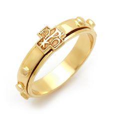 14K Alpha & Omega Rosary ring