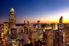 Close-in photography of the Charlotte NC skyline, taken at sunset 2012