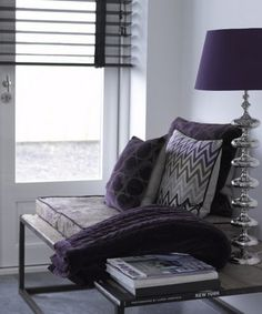 Purple & grey living room. love the colors and velvet