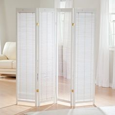 Tranquility Wooden Shutter Screen Room Divider in White at Hayneedle