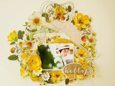Wall hanging~HELLO - Kaisercraft - Golden Grove Collection Scrapbooking Layouts, Scrapbook Pages, Baby Girl Scrapbook, Kids Pages, Smash Book, Art Journaling, Scrapbooks, Paper Craft, Albums