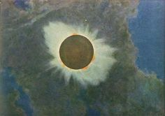 Total eclipse of the Sun, June 8, 1918. Print of eclipse painting by Howard Russell Butler (Butler died in 1934)