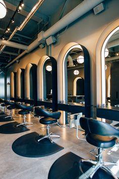 Top Hair Salon in Indianapolis - G Michael Salon Interior Design G Michael Salon is known as the BEST Hair Salon in Indianapolis and has the coolest s. Barber Shop Interior, Barber Shop Decor, Hair Salon Interior, Salon Interior Design, Interior Design Photos, Top Hair Salon, Best Hair Salon, Hair Salons, Beauty Salon Decor