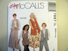 Vintage McCalls 7887 Sewing Pattern - Womens Size 22, 24, 26 - Never Used - Pull on Pants, Skirt, Buttoned Vest with Pockets Womens Pattern