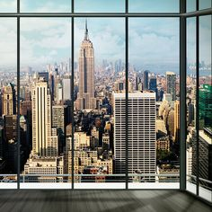 New York Skyline Window Mural