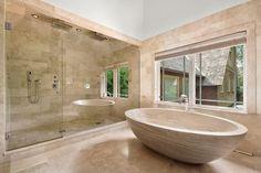 "Contemporary Master Bathroom with Tuscany Walnut Travertine, 68"" Claudius Oval Travertine Tub Beige Travertine"
