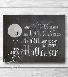 Halloween decor Printable art print CHALKBOARD wall art digital decor halloween party decoration fall decor autumn decor INSTANT DOWNLOAD