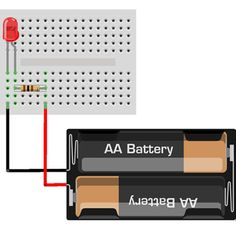 A schematic with a 9V battery, 470 ohm resistor, and a single LED of ...