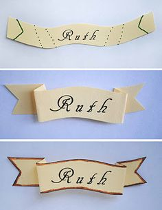 Cut out name in the shape of first picture. Fold on dotted lines. Cut ends on solid lines. Your name tag should now look something like the second picture.    Unfold name tag and paint the outer edges with watercolor. Next, run a dark brown maker around the edge. Refold. This will give it a little more depth and age. You can distress the paper more if you want.