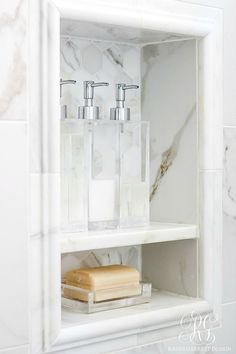 5 Stylish ways to Make your Bathroom Feel Custom - easy luxurious tips to style your bathroom like a custom home with towels and accessories (Diy Bathroom Shower) Basement Bathroom Remodeling, Bathroom Renos, Bathroom Makeover, Shower Niche, Remodel Bedroom, Bathroom Design, Bathroom Decor, Beautiful Bathrooms, Laundry Room Bathroom