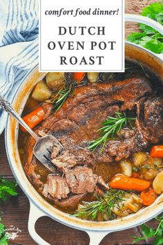 Tender and juicy, this Dutch Oven Pot Roast transforms an affordable cut of meat into a delicious comfort food dinner. The beef slowly bakes with potatoes and carrots for an easy one pot meal. Your whole family will love this classic Sunday pot roast recipe! Chuck Roast Recipe Roast Beef Recipes, Meat Recipes, Cooking Recipes, Crockpot Recipes, Dinner Crockpot, Recipe For Pot Roast In The Oven, Boneless Chuck Roast Recipes, Roast Beef Dinner, Beef Pot Roast