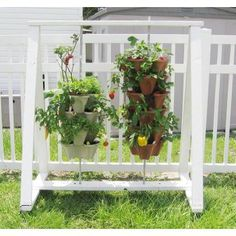 Nancy Jane Vertical Gardening Self Watering 12 in. Stacking Planters in Stone 3-Pack Hanging Set-P1361 - The Home Depot