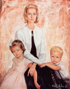 Prince Grace with children Caroline and Albert. Portrait. No info on artist.