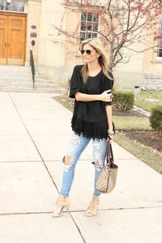Easy Weekend Outfit with Fringe Top Banana Republic, distressed American Eagle jeans, Gucci Purse and Kate & Mel Suede Fringe Heels