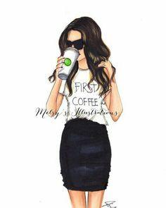 First Coffee - Fashion Print - Fashion Illustration - Illustration - Fashion Art - Art - Fashion - Coffee MugBy Melsy's Illustrations Fashion Prints, Fashion Art, Girl Fashion, Fashion Design, Paper Fashion, Trendy Fashion, Chica Cool, Girly M, Moda Vintage
