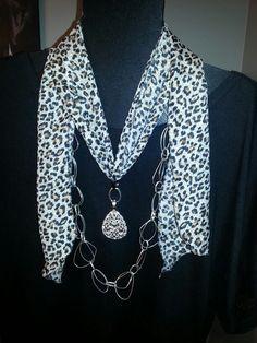 Premier Designs Silver Splash Necklace ; Scarf with Clip it and Unbelievable Pendant billn9638@msn.com