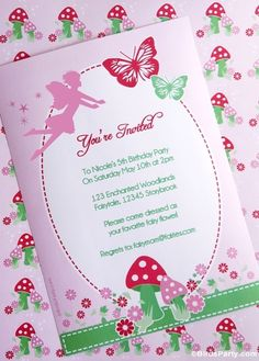 Cute invites at a Butterfly girl birthday party!   See more party ideas at CatchMyParty.com!