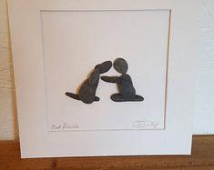 Pebble Art, Framed Pebble Art, Sea Glass, Pebble Art by Lesley Irving, Modern Art, Pebble Art Dog, Dog Lover Art, Dog Lover, Dog