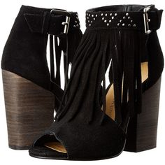 Chinese Laundry Boho Fringe Bootie (Black) High Heels (3.295 RUB) ❤ liked on Polyvore featuring shoes, black, block heel shoes, black fringe shoes, bohemian shoes, black block heel shoes and t strap shoes