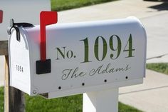 House number and last name for your mailbox (2 - one for each side of mailbox) via Etsy