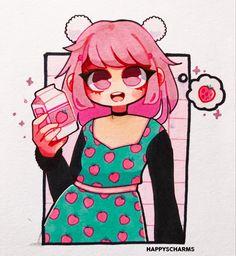 Cute Kawaii Drawings, Anime Girl Drawings, Art Drawings Sketches, Cool Art Drawings, Realistic Drawings, Girl Face Drawing, Cute Girl Drawing, Cute Art Styles, Cartoon Art Styles