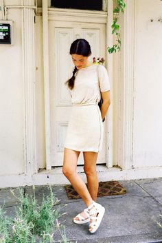 White dress, white shoes.